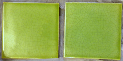 Manufacture de Céramiques Décoratives de Hasselt (1895-1954), twee onversierde tegels 'Gambrinus', s.d., keramiek en muntgroen glazuur.
