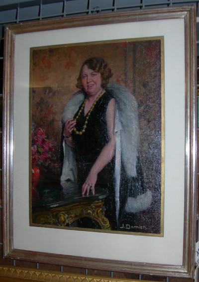 Jos. Damien (1879-1973), Portret van een dame - Mme. Moens, s.d., olie op doek, paneel.