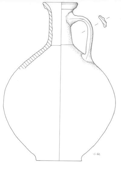 Volledige kruik met niet-ondersneden snavelvormige lip in Gladwandig Aardewerk Oxiderend (GWO)