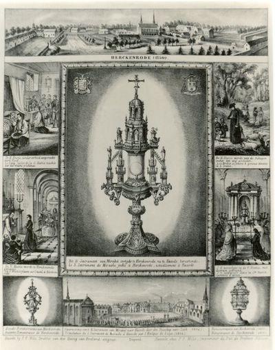 Pieter Frederik Milis (1801-1865), Mirakelprent van het H. Sacrament van Herkenrode, 1854, lithografie.