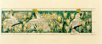 Manufacture de Céramiques Décoratives de Hasselt (1895-1954), ontwerptekening voor een tegelfries met kaketoes tussen magnoliabloesem, s.d., inkt, waterverf op papier.