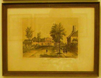 Charles Joseph Hoolans (1814-na 1866) lithograaf, Simonau & Toovey drukker, Gezicht op de boulevard met links de gevangenis, 1860, lithografie.
