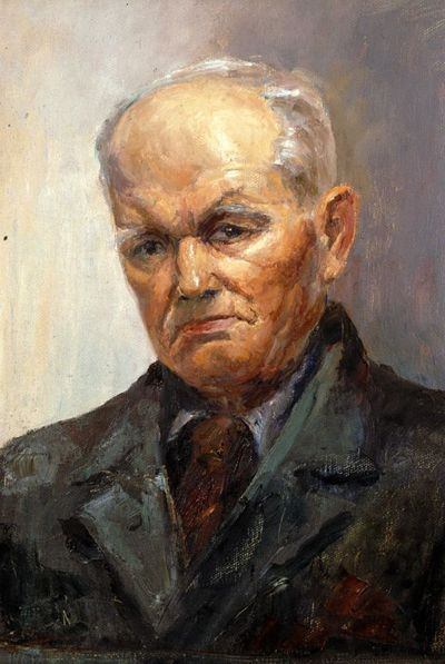 Virtorine (Victoire) Loodts (1880-1970), Portret kaalhoofdige oude man, s.d., olie op doek.