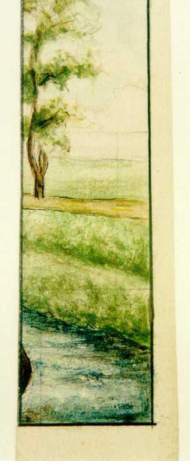 Manufacture de Céramiques Décoratives de Hasselt (1895-1954), ontwerptekening voor een tegelpaneel met fragment van een landschap met boom, weggetje en een beek, s.d., potlood, inkt, waterverf op papier.