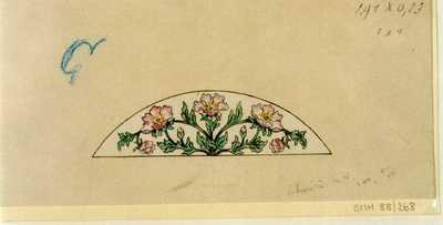 Manufacture de Céramiques Décoratives de Hasselt (1895-1954), ontwerptekening voor een halfellipsvormig tegelpaneel met bloemen, s.d., potlood, inkt, waterverf op papier.