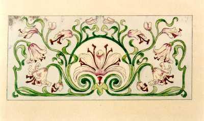 Manufacture de Céramiques Décoratives de Hasselt (1895-1954), ontwerptekening voor een tegelpaneel met leliemotief, 1895-1914, potlood, waterverf op papier.