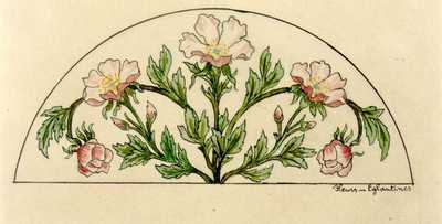Manufacture de Céramiques Décoratives de Hasselt (1895-1954), ontwerptekening voor een halfrond tegelpaneel met bloemen, 1895-1914, potlood, inkt, waterverf op papier.