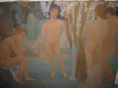 Paul Hermans (1898 - 1972), Studie - naakte mannen tussen bomen, s.d., olie op doek.