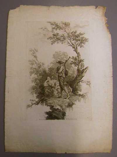 Anoniem, prent met een muziekspelende staande jongeman voor een halfliggende jonge vrouw - in landschap, s.d., papier, ets.