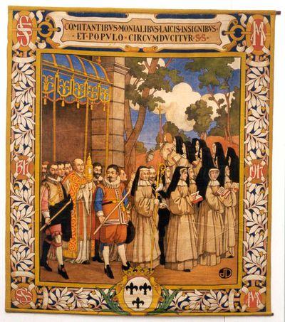 Jos. Damien (1879-1973), Processie ten tijde van abdis B. de Rivière, , wandtapijt uit een reeks van zes, 1917, tempera op katoendoek.