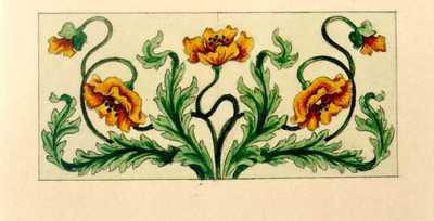 Manufacture de Céramiques Décoratives de Hasselt (1895-1954), ontwerptekening voor een tegelpaneel met bloemenmotief, 1895-1914, potlood, waterverf op papier.