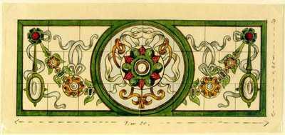 Manufacture de Céramiques Décoratives de Hasselt (1895-1954), ontwerptekening voor een tegelpaneel met guirlandes, linten en rozetten, s.d., potlood, inkt, waterverf op papier.