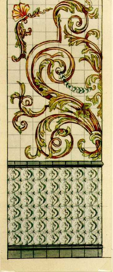 Manufacture de Céramiques Décoratives de Hasselt (1895-1954), ontwerptekening voor een tegelwand met plantenslingers, s.d., potlood, inkt, waterverf op papier.