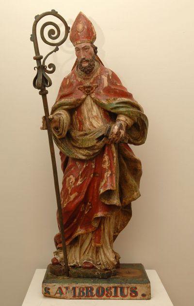 Anoniem, beeld van de Heilige Ambrosius uit Sint-Janskapel van Tuilt, 18e eeuw, gepolychromeerd hout, lindehout.