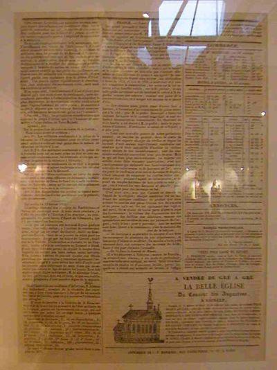 J.F. Blockeel, krantenknipsel uit Le Journal des Flandres nr. 48 met aankondiging van de verkoop van de kerk van het augustijnenklooster in Hasselt, 1835, papier.