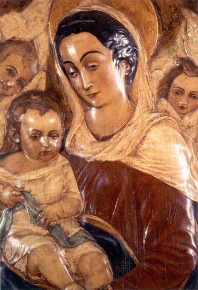 Guido Perilleux (1940-2004), kunstschilder, Manufacture de Céramiques Décoratives de Hasselt (1895-1954), fabrikant, bas-reliëf met voorstelling van Onze-Lieve-Vrouw met Kind, beschilderd afgietsel van origineel, s.d., beschilderd keramiek.
