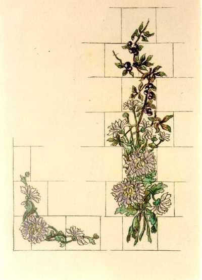Manufacture de Céramiques Décoratives de Hasselt (1895-1954), ontwerptekening voor een tegelpaneel met bloemenslingers, s.d., potlood, inkt, waterverf op papier.