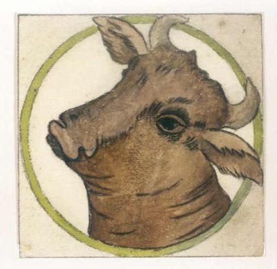 Manufacture de Céramiques Décoratives de Hasselt (1895-1954), Ontwerptekening voor een tegel in Hasselts keramiek, s.d., inkt, potlood, waterverf op papier.