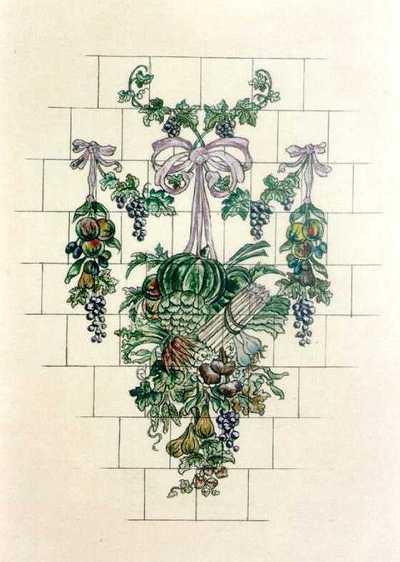 Manufacture de Céramiques Décoratives de Hasselt (1895-1954), ontwerptekening voor een tegelpaneel met groenten en fruit aan strikjes, s.d., inkt, waterverf op papier.