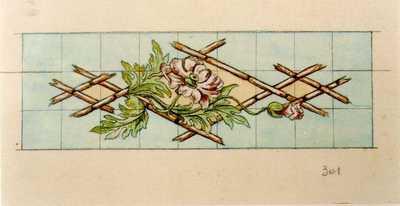 Manufacture de Céramiques Décoratives de Hasselt (1895-1954), ontwerptekening voor een tegelpaneel met bamboestokken en klaprozen, s.d., potlood, inkt, waterverf op papier.