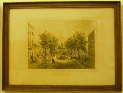 Charles Joseph Hoolans (1814-na 1866) lithograaf, Simonau & Toovey drukker, Gezicht op de Leopoldplaats, 1860, lithografie.