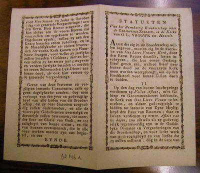 Anoniem, statuten van de Broederschap voor de Geloovige zielen in de kerke van Onze-Lieve-Vrouw tot Hasselt, s.d., gedrukt op papier.