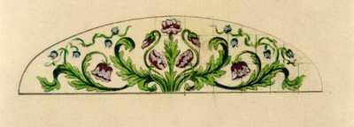 Manufacture de Céramiques Décoratives de Hasselt (1895-1954), ontwerptekening voor een boogvormig tegelpaneel met gestileerde bloemen, s.d., potlood, inkt, waterverf op papier.