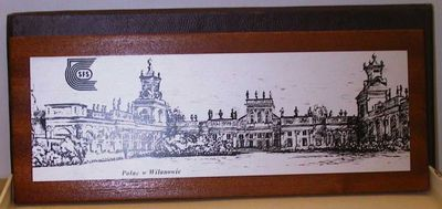 Anoniem, doos met afbeelding van het Wilanówpaleis, relatiegeschenk, s.d., teakhout.