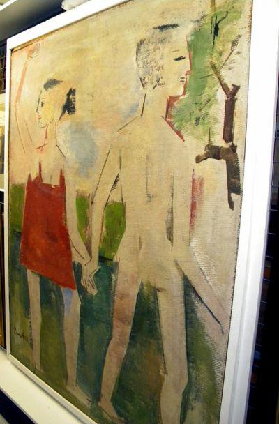 Pierre Cox (1915-1974), Het afscheid, s.d., acrylverf op paneel.