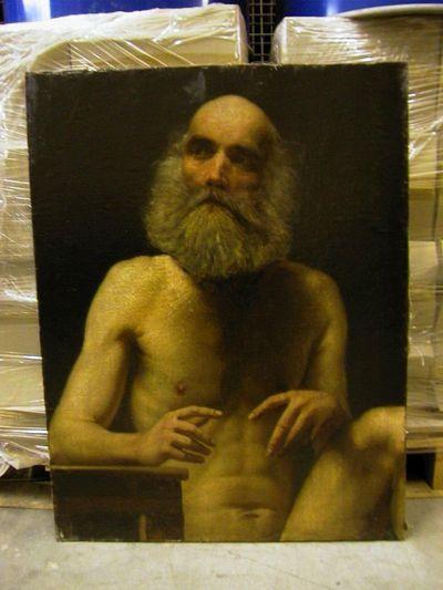Michel Geraets (1829-1908), Naakte grijsaard, s.d., olie op doek.