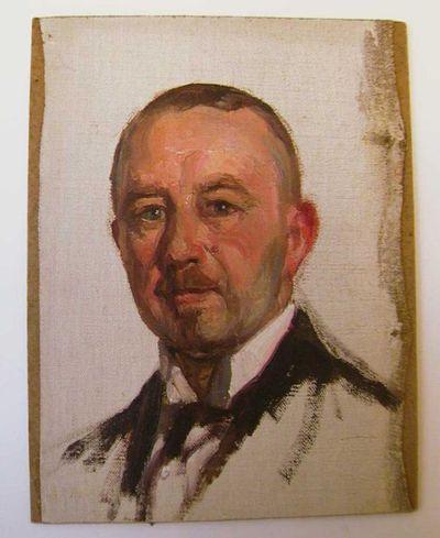 Jos. Damien (1879-1973), studie van Monsieur Lomyer de Liège, s.d., olie op paneel.