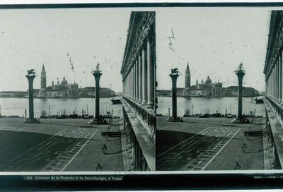 Ferrier p.f. & Soulier, J. Lévy Sr., stereokaart met zicht op San Giorgio Maggiore, één van de eilanden van Venetië, s.d., glas.