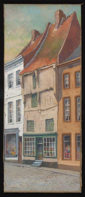 Paul Marie Bamps (1862-1932), Vakwerkhuis Demerstraat, ca. 1890, gouache.