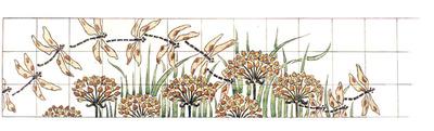 Manufacture de Céramiques Décoratives de Hasselt (1895-1954), ontwerptekening voor een tegelfries met afbeelding van libellen, s.d., potlood, inkt, waterverf op papier.