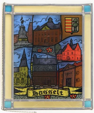 Anoniem, Glasraam met afbeeldingen van Hasseltse panden en plekken, s.d., glas-in-lood