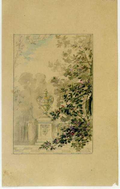 Manufacture de Céramiques Décoratives de Hasselt (1895-1954), ontwerptekening voor een tegelpaneel met tuindecor met urne op zuil, 1895-1914, potlood, waterverf op papier.