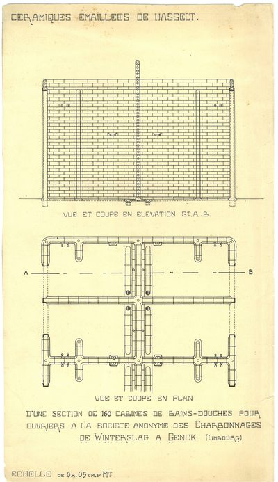 Manufacture de Céramiques Décoratives de Hasselt (1895-1954), ontwerptekening voor 160 douchekabines van de mijn van Winterslag in Genk, s.d., papier, inkttekening, handgeschreven tekst.