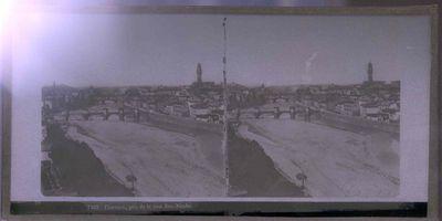 Anoniem, stereokaart met panorama van Firenze gezien vanop de toren van San-Nicolo, s.d., glas.