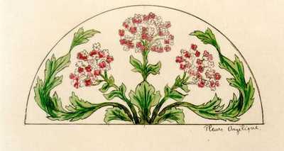 Manufacture de Céramiques Décoratives de Hasselt (1895-1954), ontwerptekening voor een halfrond tegelpaneel met bloemen, s.d., inkt, waterverf op papier.