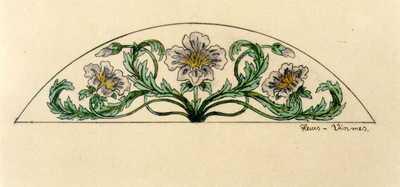 Manufacture de Céramiques Décoratives de Hasselt (1895-1954), ontwerptekening voor een halfellipsvormig tegelpaneel met bloemen, 1896-1914, potlood, inkt, waterverf op papier.