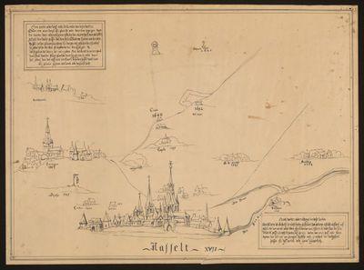 Anoniem, Plan van Hasselt en omstreken in de 17de eeuw met afstanden in aantal passen, 17de eeuw, tekening.