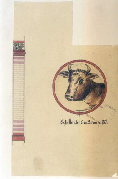 Manufacture de Céramiques Décoratives de Hasselt (1895-1954), ontwerptekening medaillon met afbeelding van een ossenkop en een zuil, s.d., potlood, inkt, waterverf op papier.