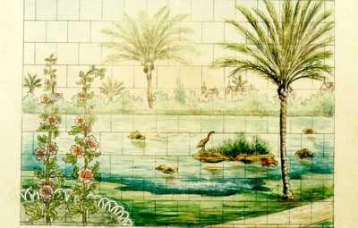 Manufacture de Céramiques Décoratives de Hasselt (1895-1954), ontwerptekening voor een tegelpaneel met exotische vijver, s.d., inkt, waterverf op papier.