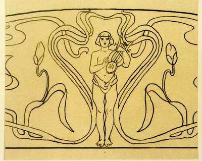 Slechts gedeeltelijk ingekleurd, ontwerptekening voor een boogvormig tegelpaneel met jongeling met lier, 1895-1914, potlood, inkt op papier.