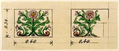 Manufacture de Céramiques Décoratives de Hasselt (1895-1954), ontwerptekeningen voor twee tegelpanelen met bloemenmotief, 1895-1914, potlood, inkt, waterverf op papier.