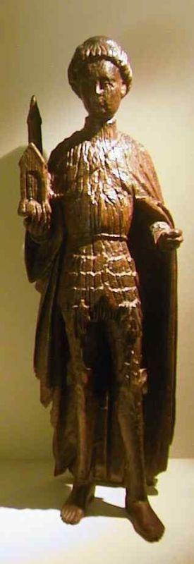 Anoniem, heiligenbeeld Sint-Gerardus van Brogne, tweede helft 15de eeuw, hout.