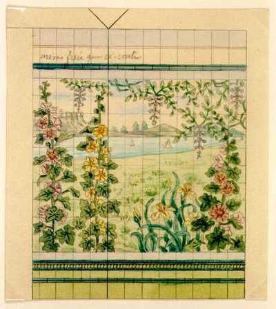 Manufacture de Céramiques Décoratives de Hasselt (1895-1954), ontwerptekening voor een tegelwand met bloemenlandschap, s.d., potlood, inkt, waterverf op papier.