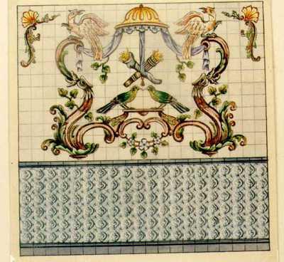 Manufacture de Céramiques Décoratives de Hasselt (1895-1954), ontwerptekening voor een tegelwand met vogels bij baldakijn, s.d., potlood, inkt, waterverf op papier.