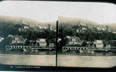 Anoniem, stereokaart met zicht op het kasteel van Heidelberg, s.d., glas.