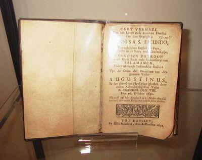 Joannes van Sevilla, auteur, Gilis Monsieur, drukker, boek Cort verhael van het leven en de wondere daeden van den Heylighen Joannes AS. Facundo (...), 1691, papier, gedrukt.
